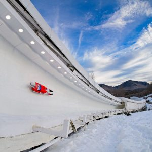 Luge Athlete Sliding Down the Track